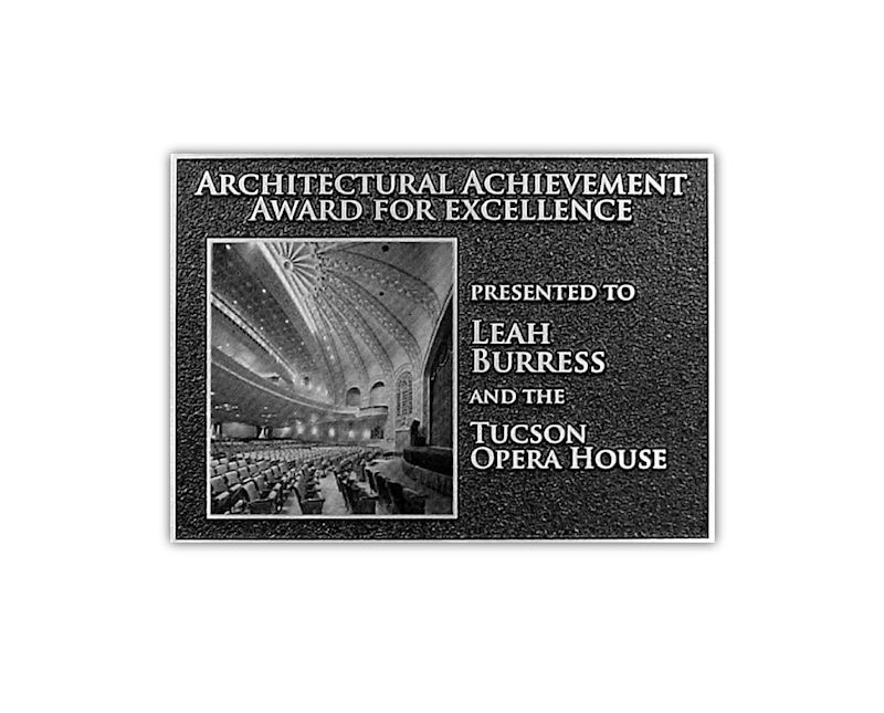 Metalphoto image of Tuscon Opera House printed on aluminum and mounted to etched magnesium plauqe