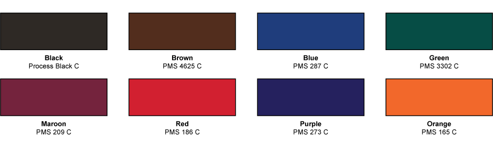 Grid of standard color options with copper or gold finish