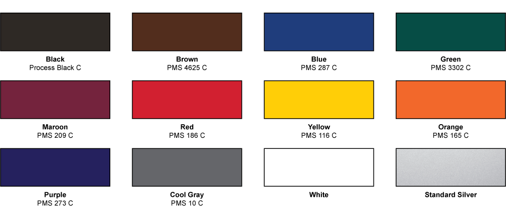 Grid of standard color options with silver finish