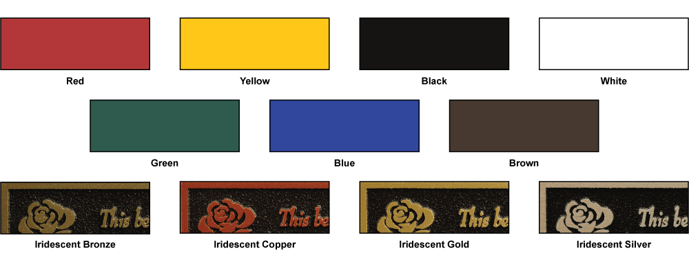 Grid of standard color options for tipping