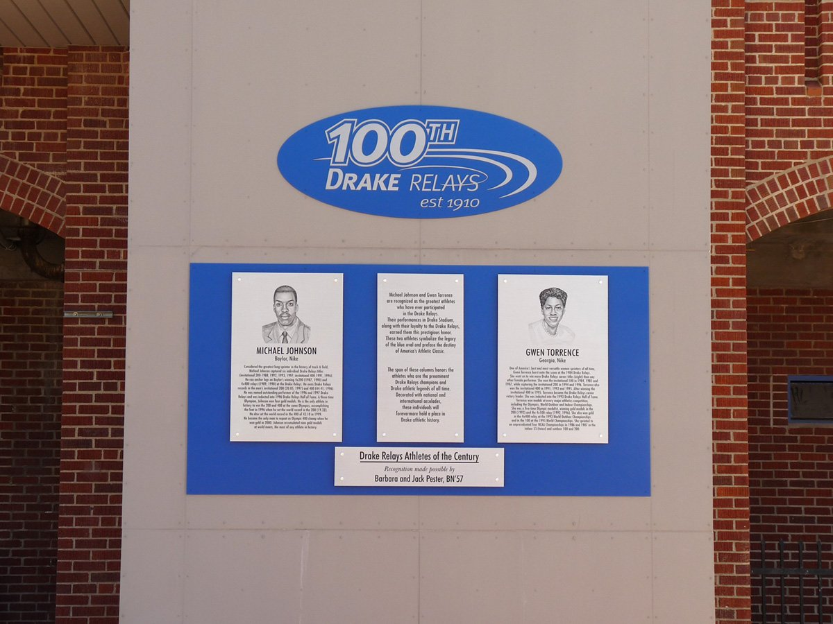 Plaques with portrait artwork grace stadium for 100th Drake Relays anniversary