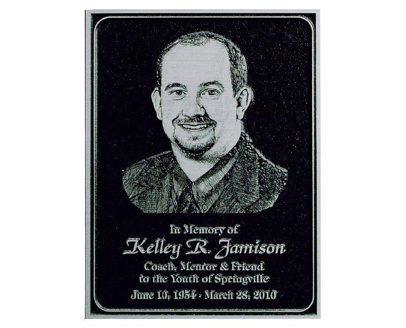 Black magnesium memorial plaque with silver finish