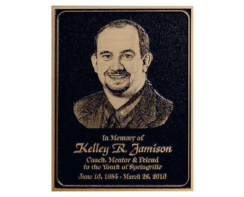 Black magnesium memorial plaque with gold finish