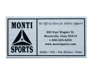Zinc Monti Sports plaque with silver finish