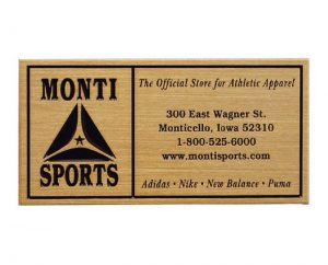 Zinc Monti Sports plaque with gold finish
