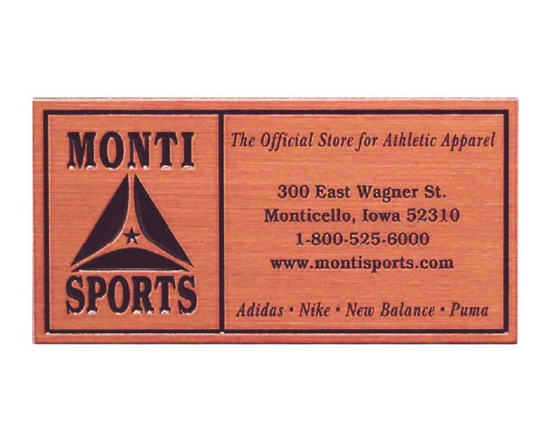 Zinc Monti Sports plaque with copper finish