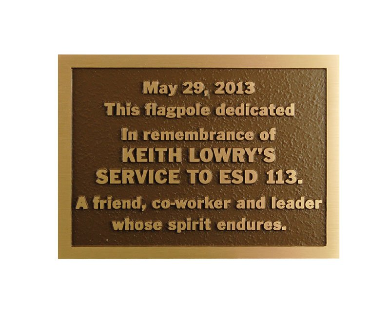 bronze plaques pella engraving company. Black Bedroom Furniture Sets. Home Design Ideas