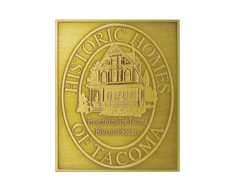 Brass Historic Homes of Tacoma plaque with image of house and antiqued finish