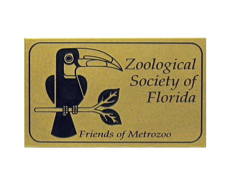 Brass Zoological Society of Florida plaque with image of toucan