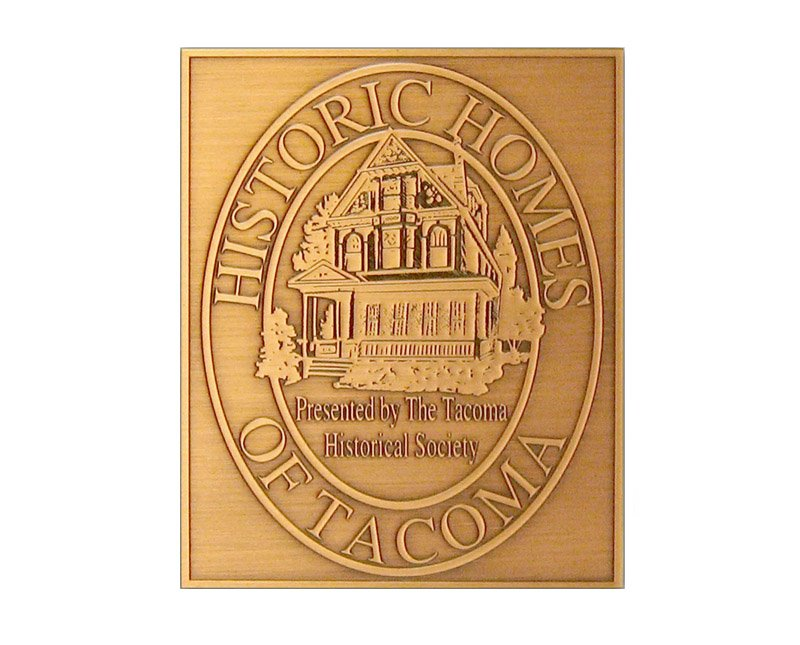 Copper Historic Homes of Tacoma plaque with image of house and antiqued finish