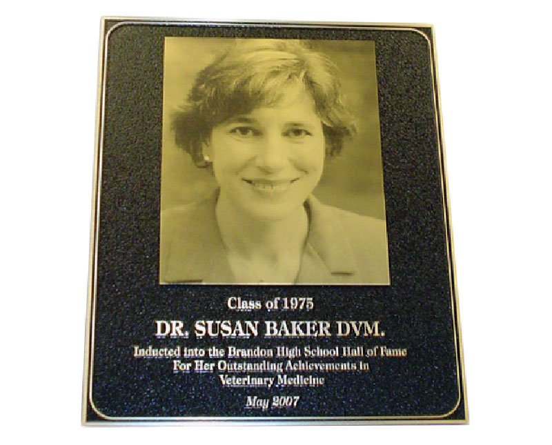 Black plaque with pebbled texture and Metalphoto image of Dr. Susan Baker