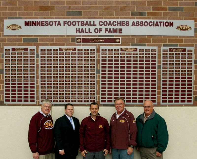Custom recognition wall honors Minnesota football coaches