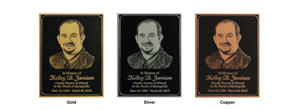 Side by side comparisons of plaques with gold, silver, and copper protective finishes