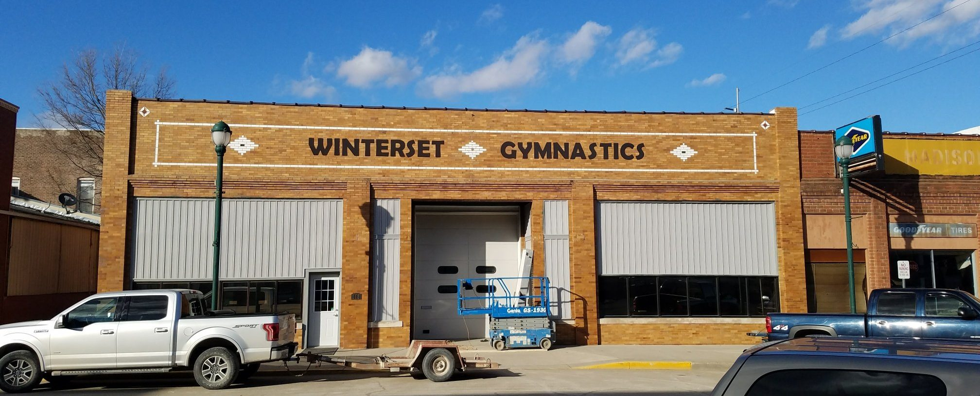 Winterset Gymnastics sign lettering installed