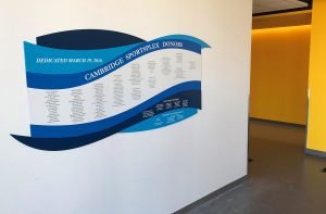 The Cambridge SportsPlex donor wall.