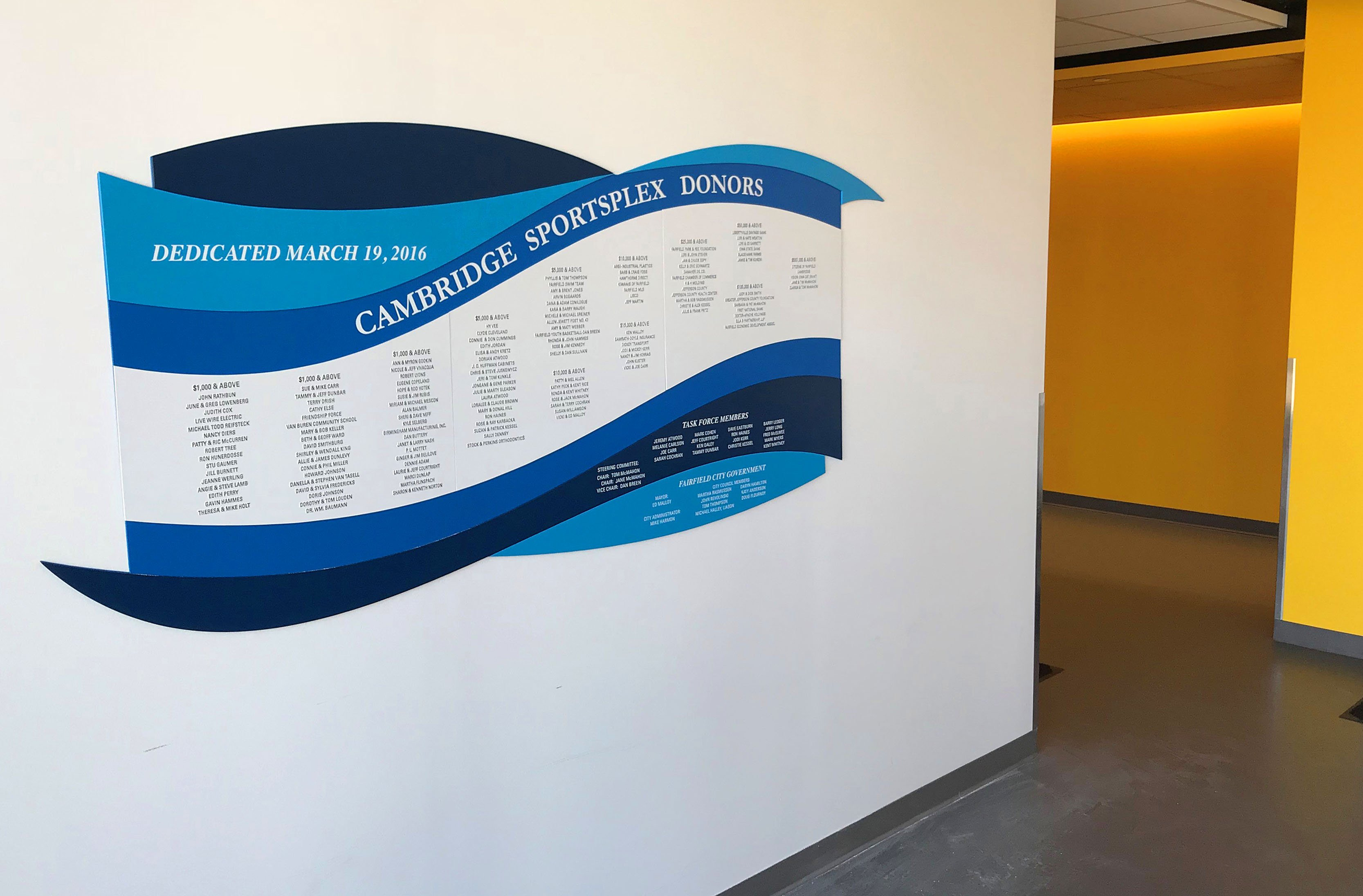 PEC makes waves with new donor wall at Cambridge SportsPlex
