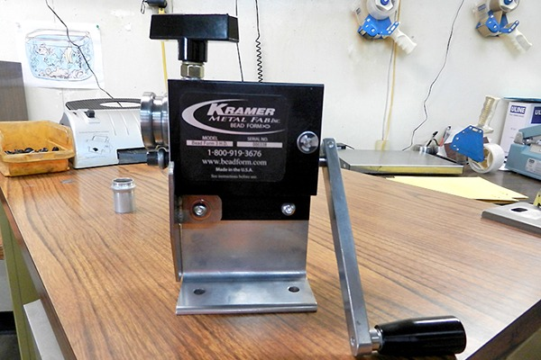 Metalphoto serial ID tag installed on Kramer Metal Fab small Bead Form tool