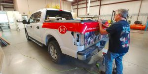 Lely partial pickup truck wrap