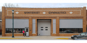 Winterset Gymnastics wall-monted sign