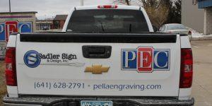 PEC and Sadler partial pickup truck wrap
