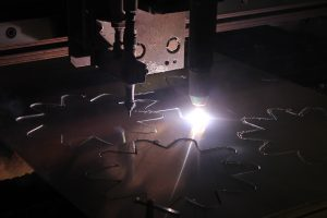 Plasma cutter in action at Pella Engraving