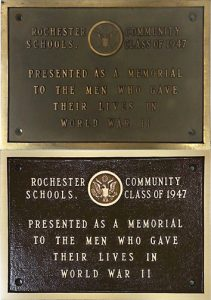 Before and after photos of Rochester Community Schools bronze plaque refinished by PEC