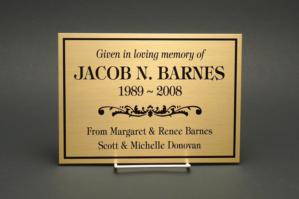 Brass Jacob N. Barnes memorial plaque