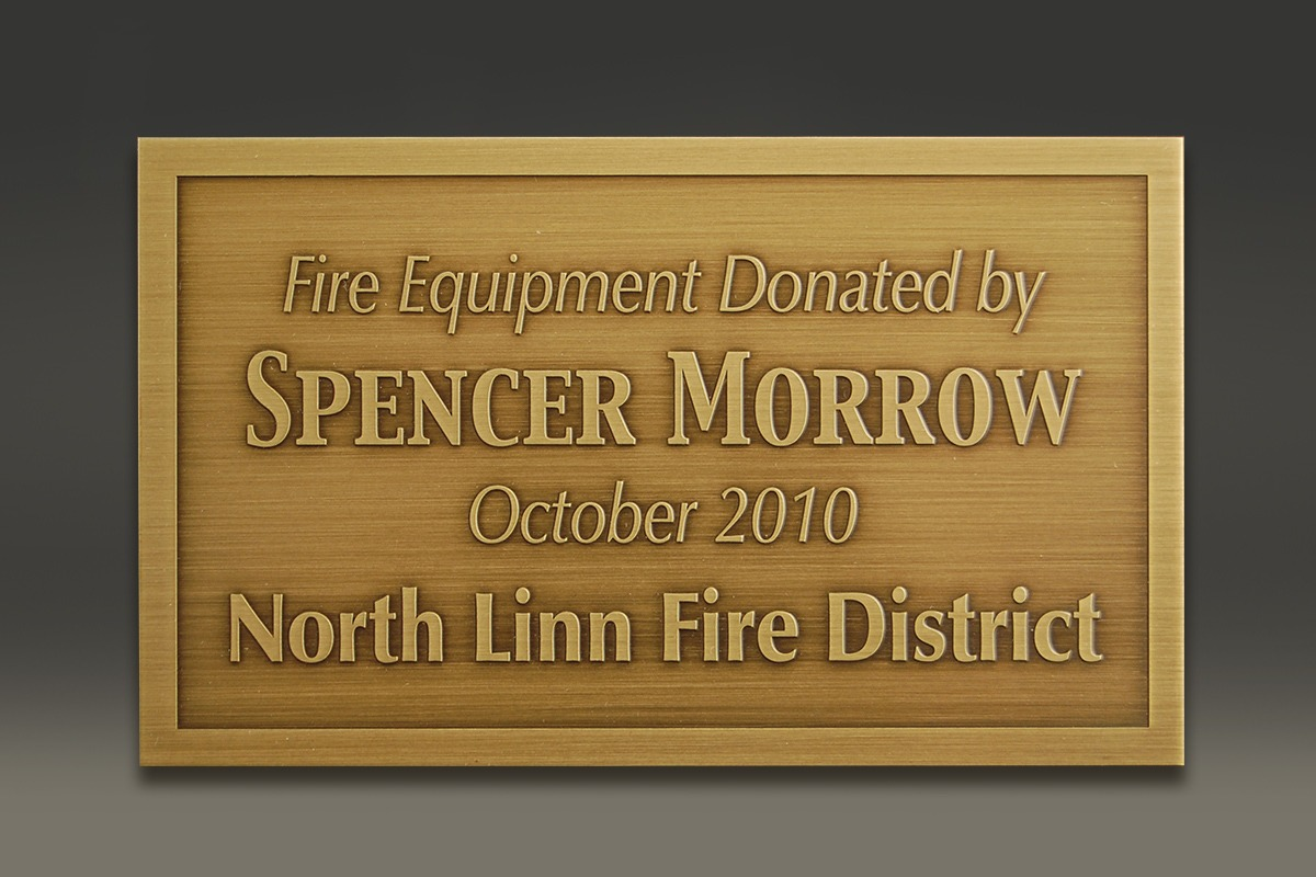 Brass donor plaque for Spencer Morrow and North Linn Fire District