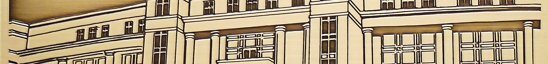 Header image closeup of brass Lake Sheldon University plaque