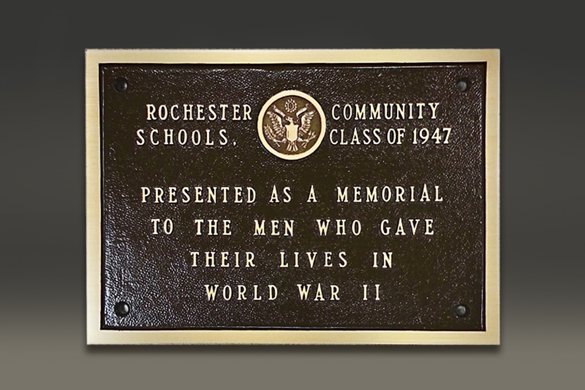 Bronze Rocheseter Community Schools World War II memorial plaque