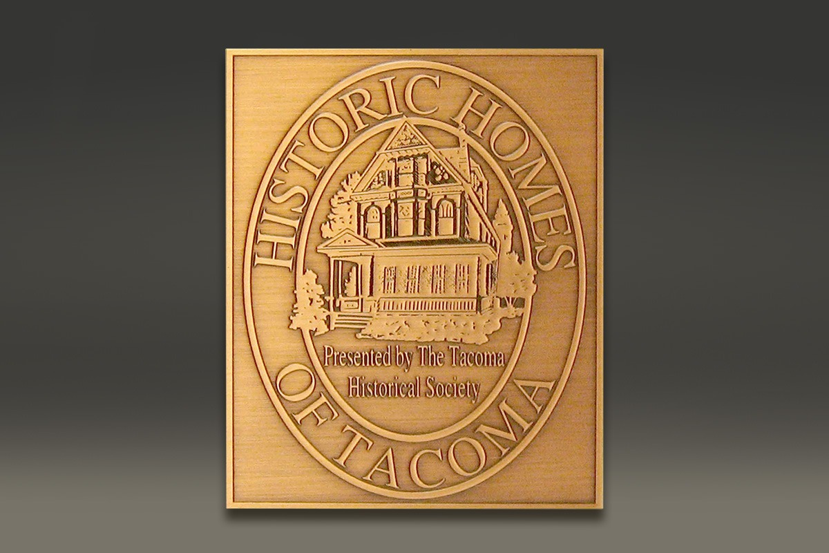 Brass Historic Homes of Tacoma plaque with image of house