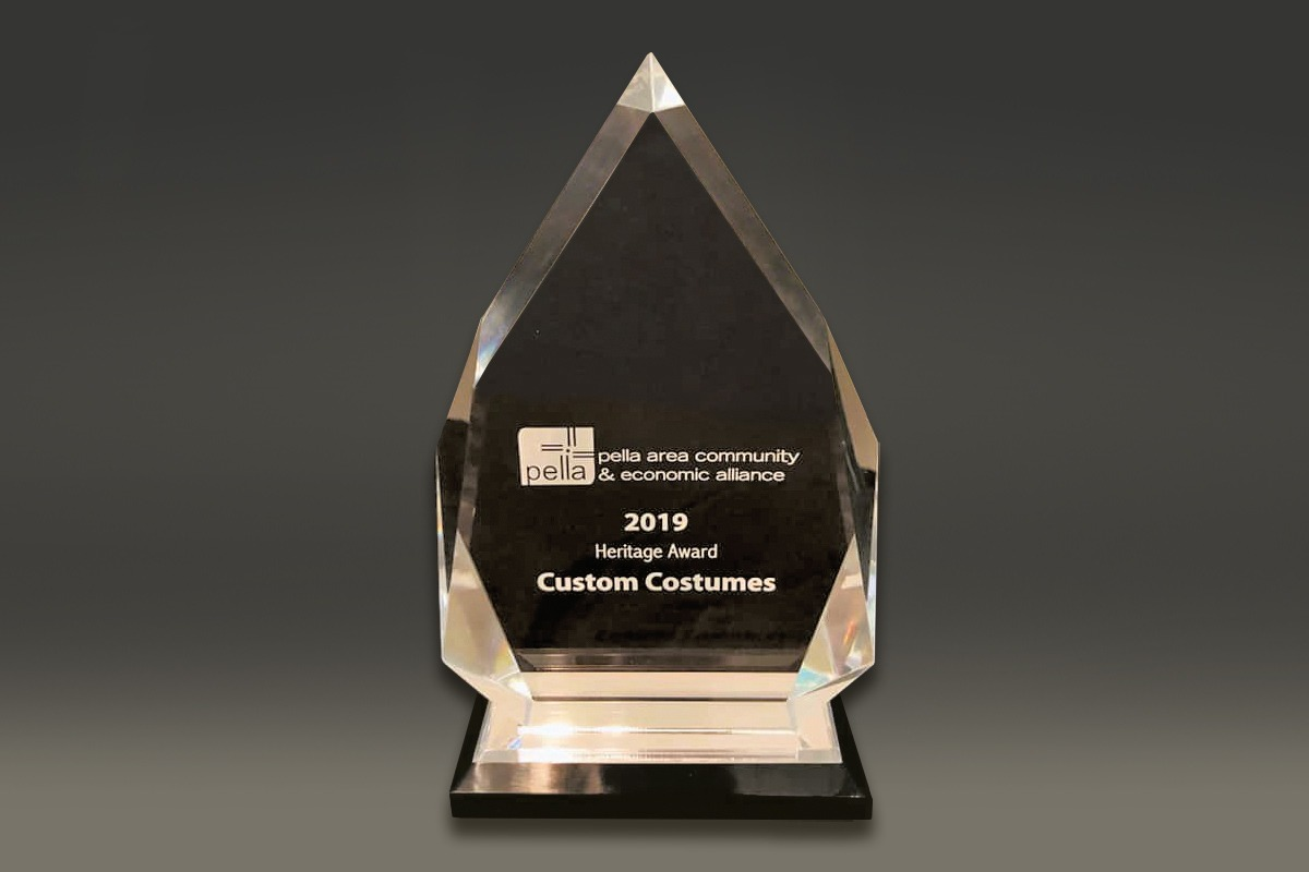Diamond-shaped sandcarved award for Pella Area Community & Economic Alliance