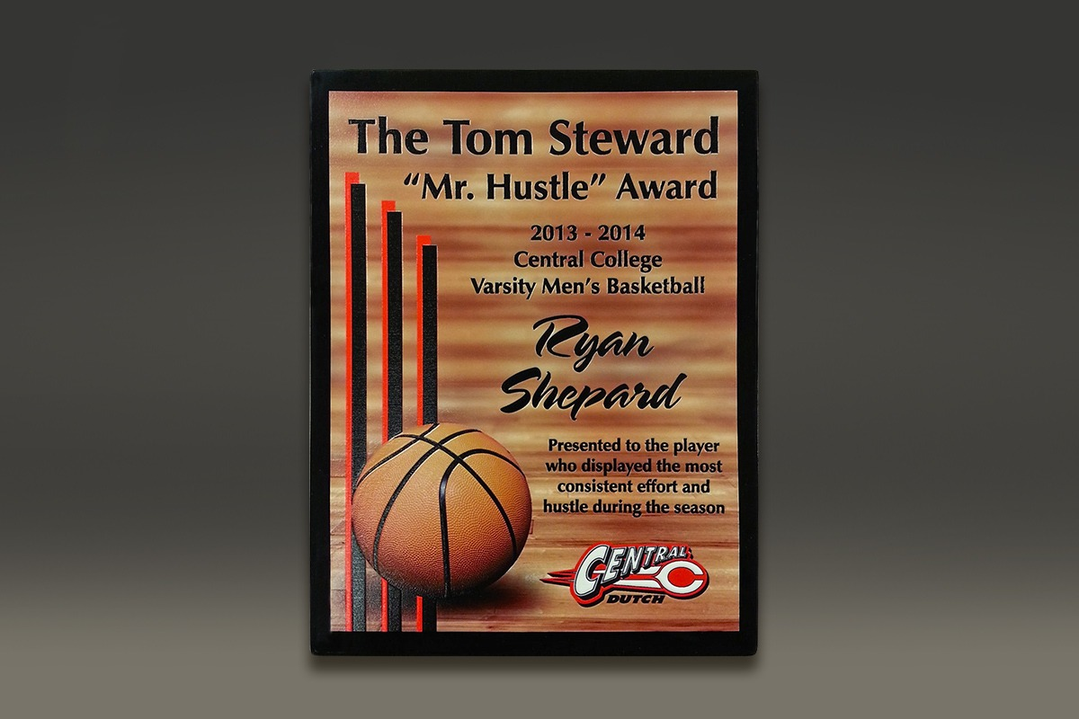 Central College Mr. Hustle plaque with UV-printed logo and basketball