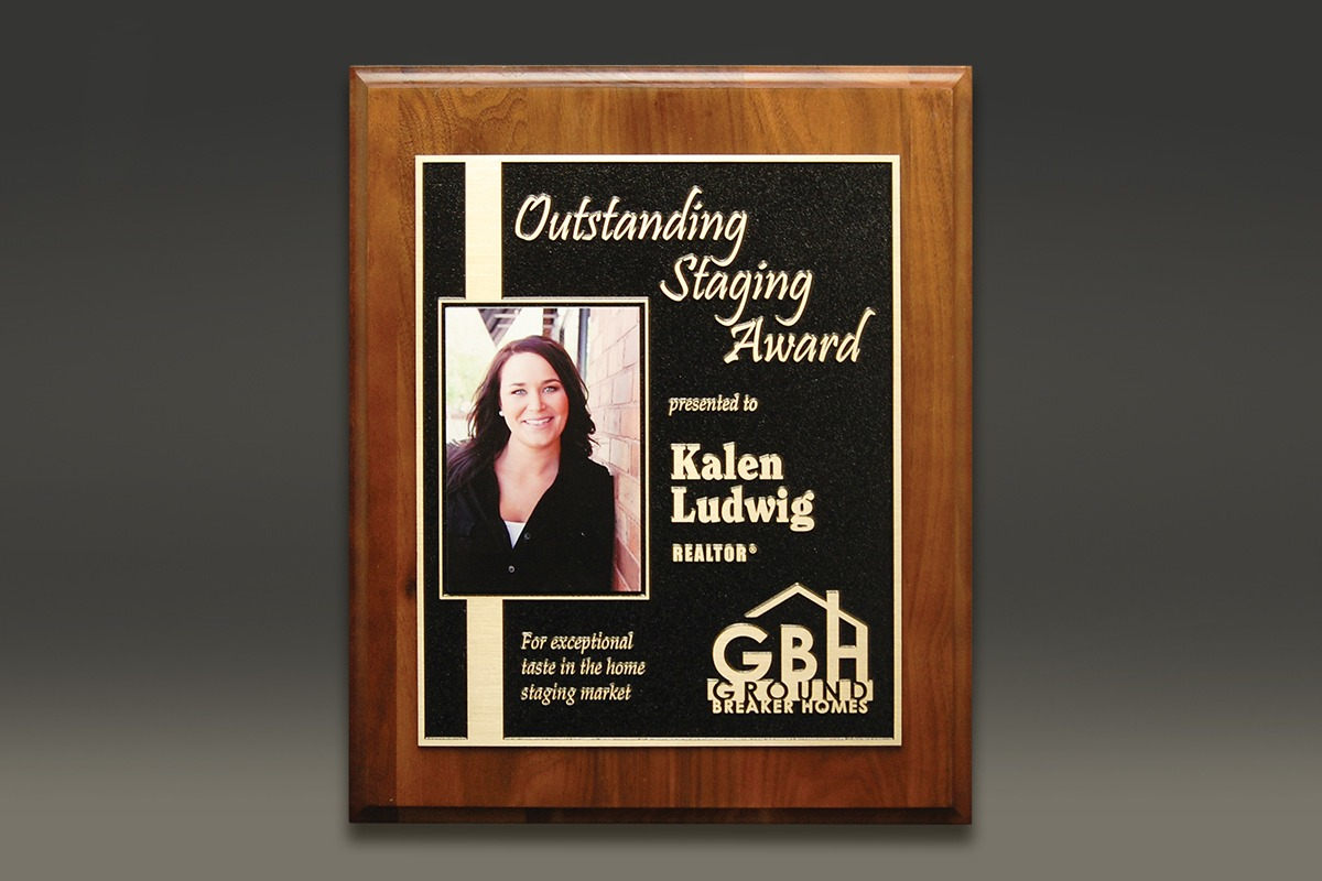 Wood-mounted Outstanding Staging Award with UV-printed photo of Kalen Ludwig