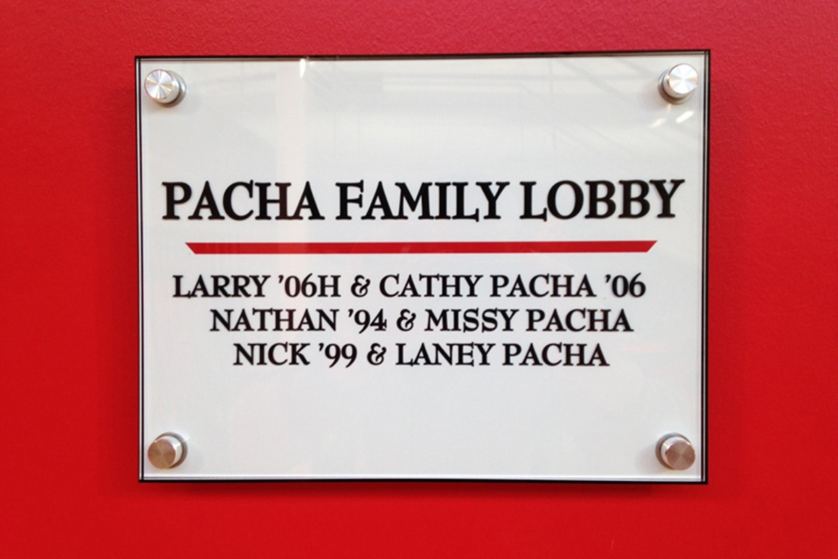 Central College Pacha Family Lobby plaque UV-printed on acrylic