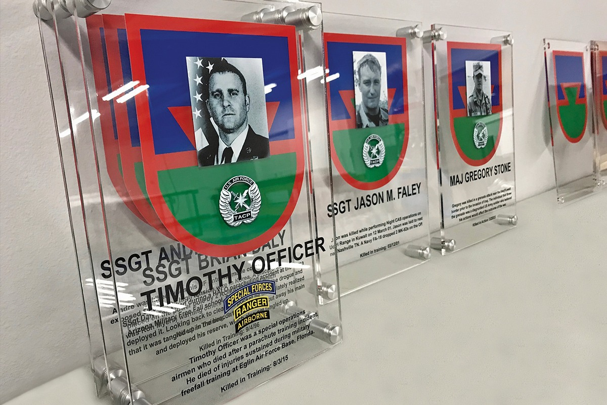 Pope Army Airfield honoree plaques UV-printed on acrylic