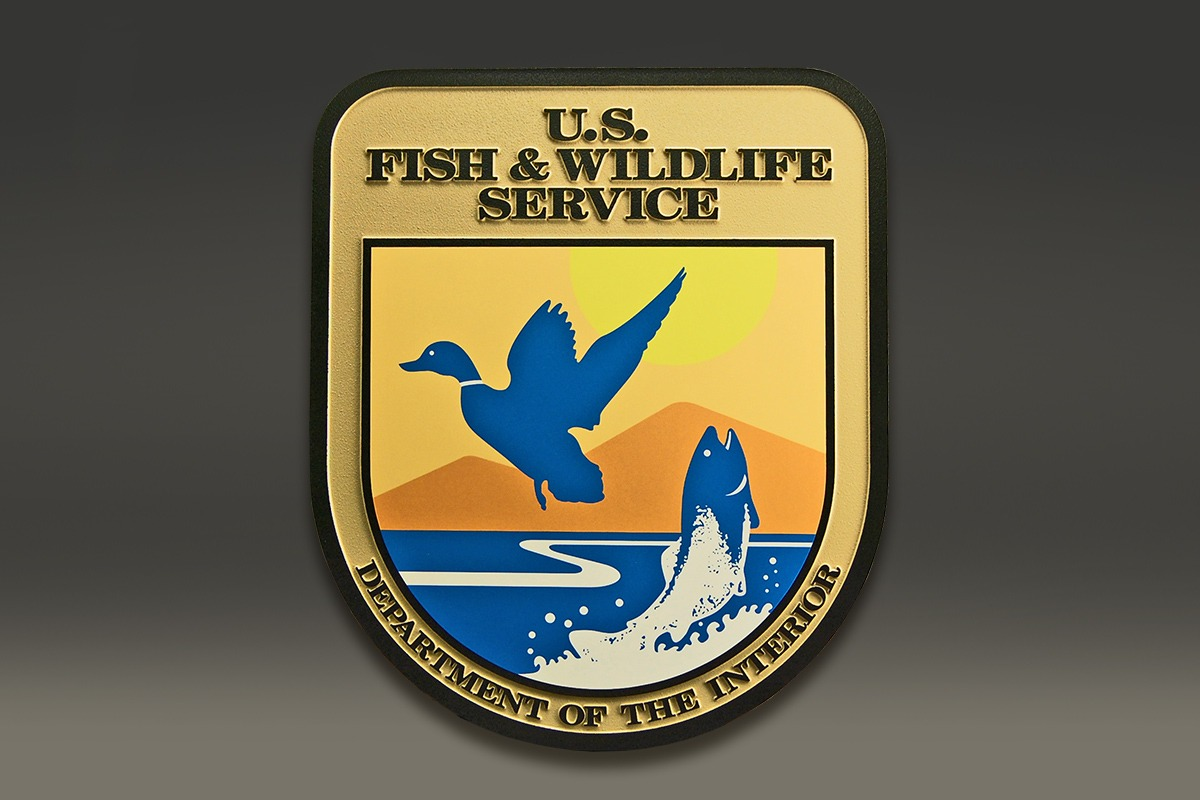 U.S. Fish & Wildlife Service plaque with UV-printed, blue and yellow seal