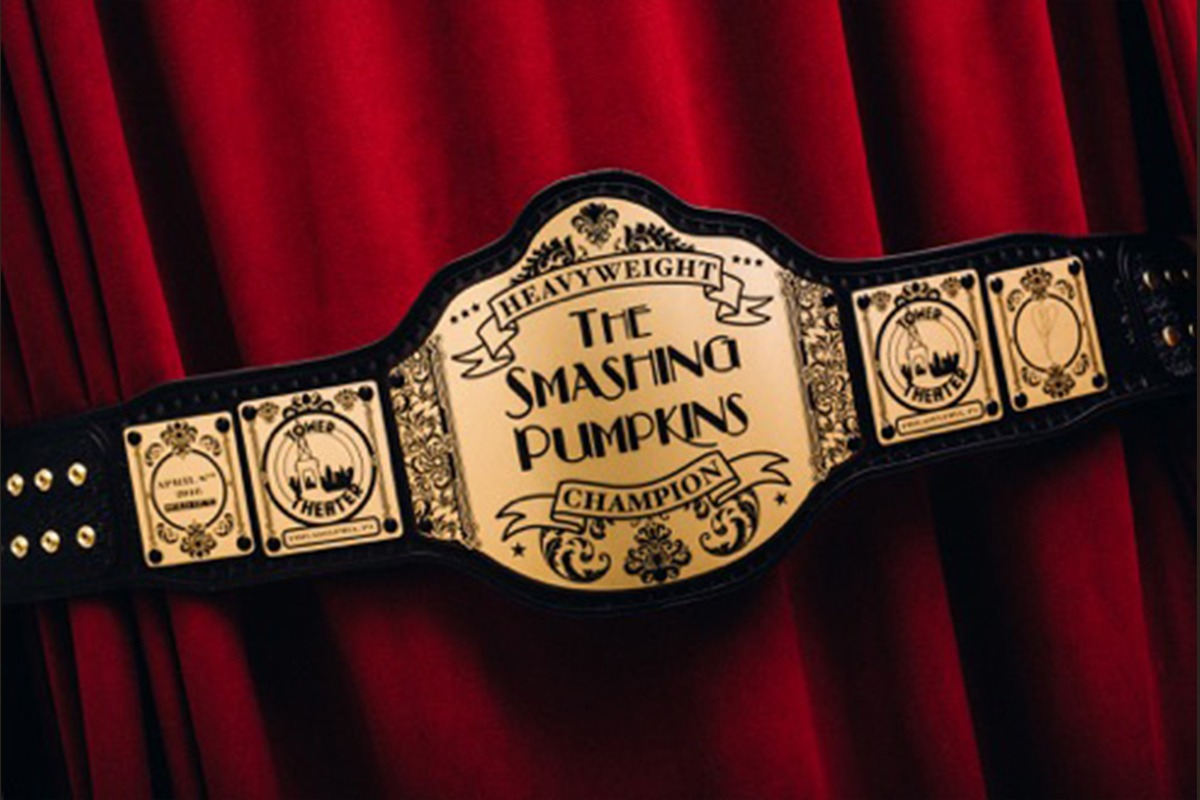 Leather and etched zinc Smashing Pumpkins Heavyweight Champion belt