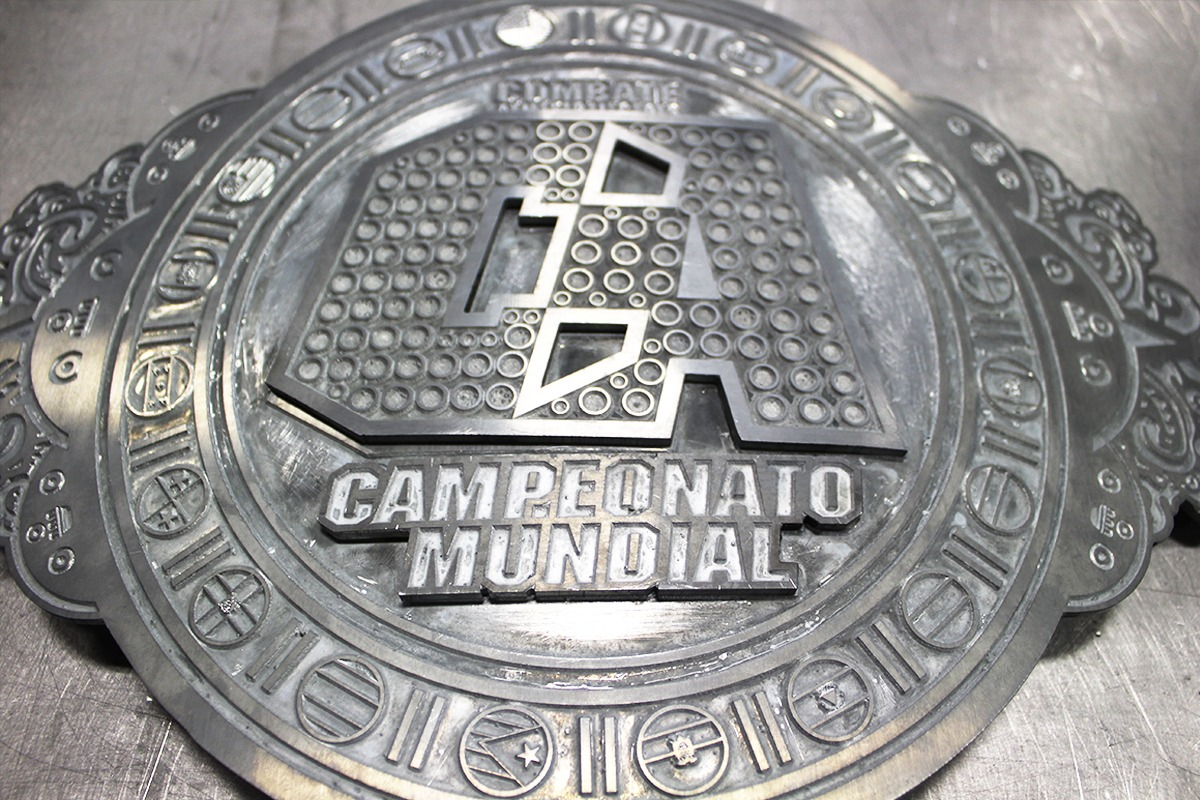 Closeup of etched zinc for Campeonato Mundial championship belt