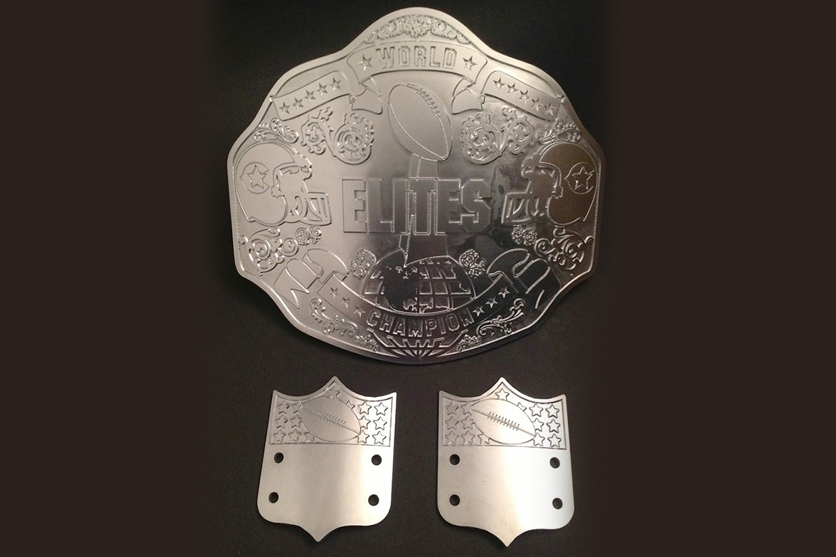 Main etched zinc plate and accent plates for Elites World Champion belt