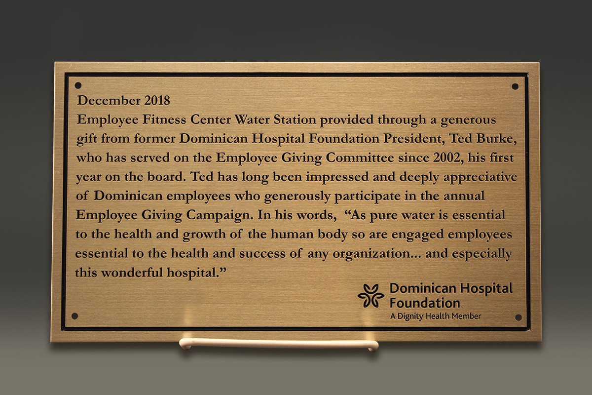 Zinc plaque for Dominican Hospital Foundation