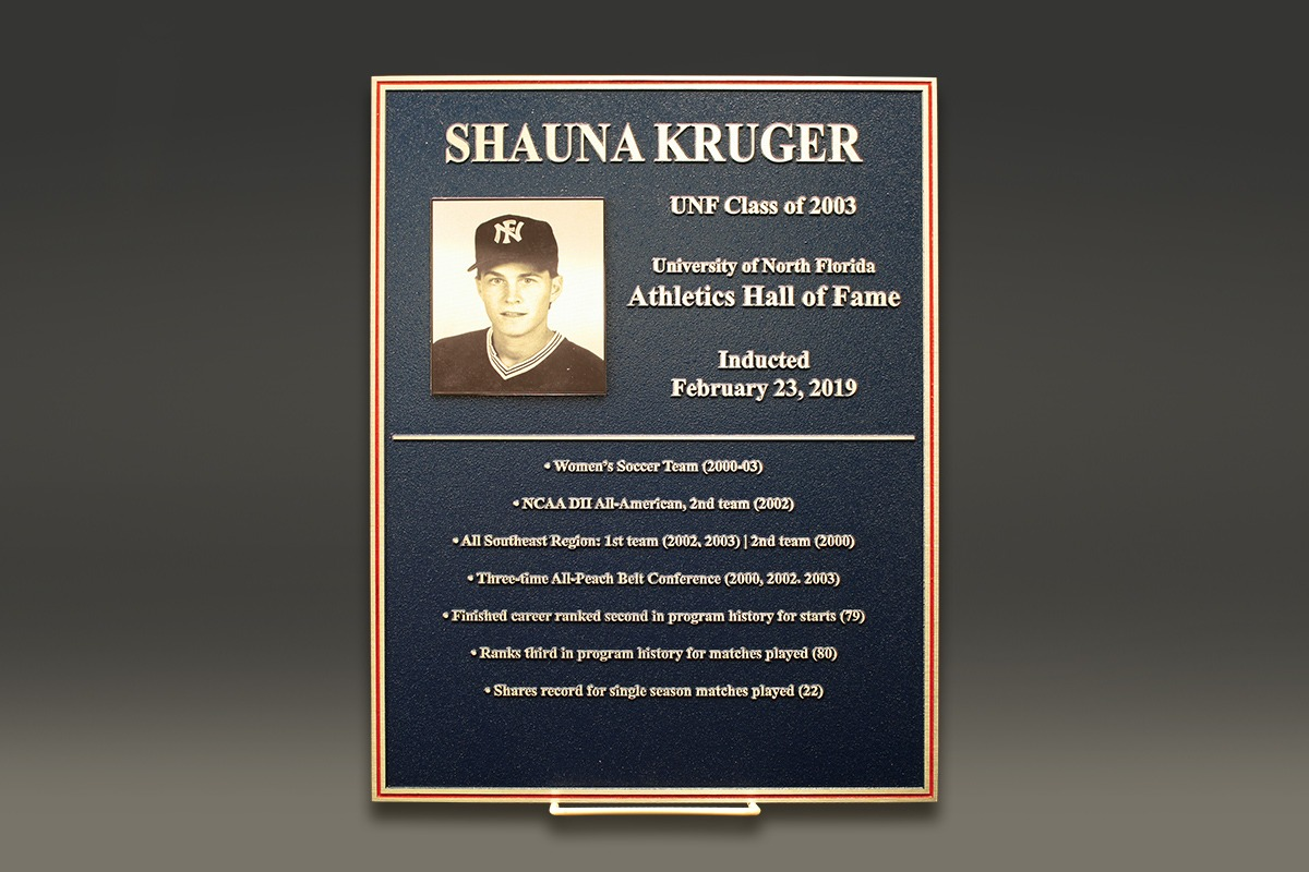 Black and gold Shauna Kruger Hall of Fame zinc plaque