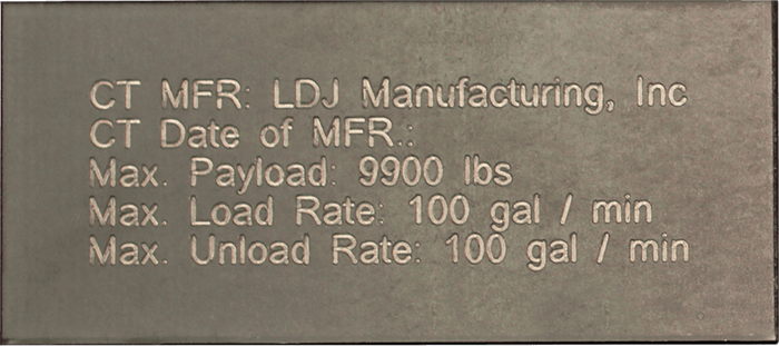 Steel ID tag for LDJ Manufacturing