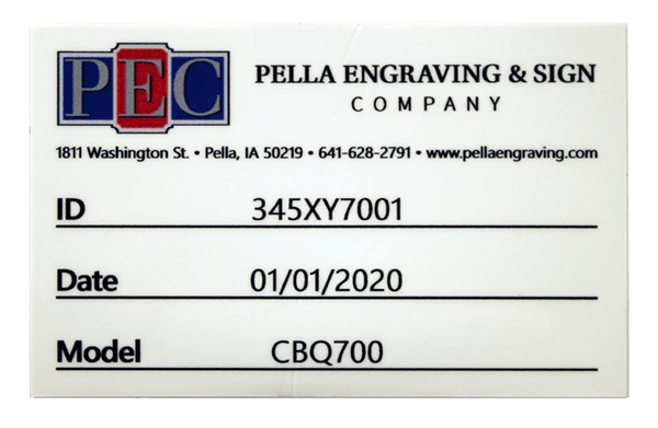 Colorful vinyl ID tag for Pella Engraving & Sign Company