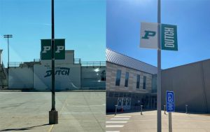 Banners at Pella High School and Lincoln Elementary School