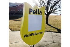 Yellow tulip freestanding sign in Pella, Iowa