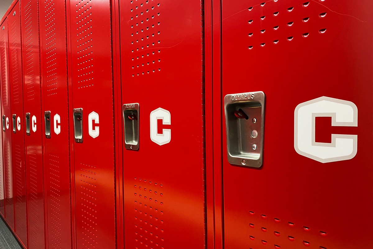Letter C sticker on red lockers for Central College